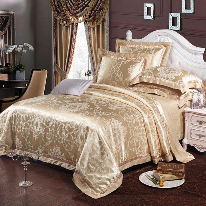 Bedding Set  (1 Duvet cover+1 Bed sheet+2 Pillow covers)100% Cotton Satin Jacquard Weave Silk color as picture 6*6
