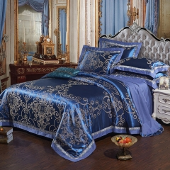 4Pcs Bedding Set(1 Duvet cover+1 Bed sheet+2 Pillow covers) 100% Cotton Satin Jacquard Weave Silk color as picture 6*6