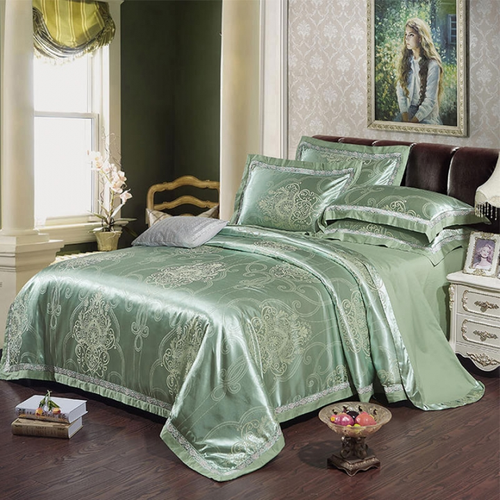 4Pcs Bedding Set  (1 Duvet cover+1 Bed sheet+2 Pillow covers)100% Cotton Satin Jacquard Weave Silk color as picture 6*6