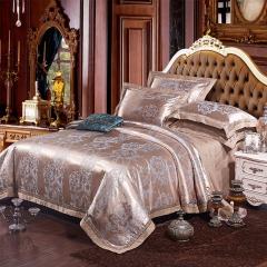 4Pcs Bedding Set (1 Duvet cover+1 Bed sheet+2 Pillow covers) 100% Cotton Satin Jacquard Weave Silk color as picture 6*6