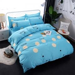 4Pcs Bedding Sets  (1 Duvet cover+1 Bed sheet+2 Pillow covers) Super Wash Padding Cotton Elasticity color as picture 5*6