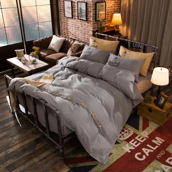 4Pcs Bedding Set (1 Duvet cover+1 Bed sheet+2 Pillow covers)Fashion Button Double Pure Color Cotton color as picture 6*6