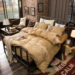 4Pcs Bedding Set (1 Duvet cover+1 Bed sheet+2 Pillow covers) Fashion Button Double Pure Color Cotton color as picture 5*6