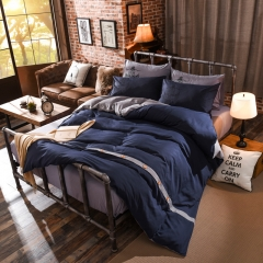 4Pcs Bedding Set (1 Duvet cover+1 Bed sheet+2 Pillow covers) Fashion Button Double Pure Color Cotton double color 5*6