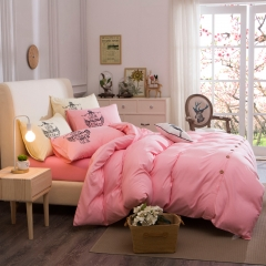 4Pcs Bedding Set (1 Duvet cover+1 Bed sheet+2 Pillow covers) Fashion Button Double Pure Color Cotton double color 6*6