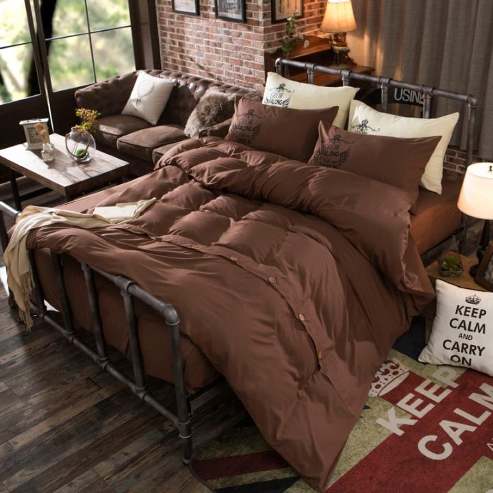 4Pcs Bedding Set (1 Duvet cover+1 Bed sheet+2 Pillow covers)Fashion Button Double Pure Color Cotton color as picture 5*6