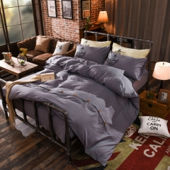 4Pcs Bedding Set (1 Duvet cover+1 Bed sheet+2 Pillow covers)Fashion Button Double Pure Color Cotton color as picture 6*6