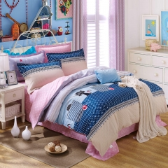 4Pcs Bedding Sets (1 Duvet cover+1 Bed sheet+2 Pillow covers) 100% Preferred Cotton Smooth Soft color as picture 5*6