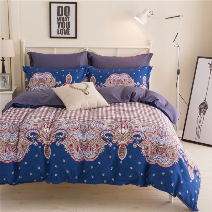 4Pcs Bedding Sets Aloe Cotton Flexibility Zipper Design (1 Duvet cover+1 Bed sheet+2 Pillow covers) color as picture 4*6