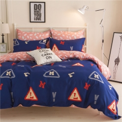4Pcs Bedding Sets Aloe Cotton Flexibility Zipper Design (1 Duvet cover+1 Bed sheet+2 Pillow covers) color as picture 5*6