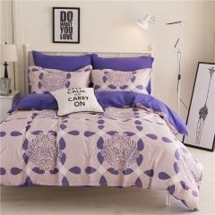 4Pcs Bedding Sets (1 Duvet cover+1 Bed sheet+2 Pillow covers) Aloe Cotton Flexibility Zipper Design color as picture 6*6