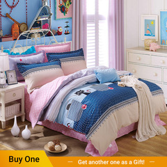 4Pcs Bedding Set (1 Duvet cover+1 Bed sheet+2 Pillow covers) 100% Preferred Cotton Smooth Soft color as picture 5*6