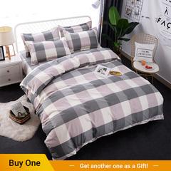 4Pcs Bedding Set(1 Duvet cover+1 Bed sheet+2 Pillow covers) Super Wash Padding Cotton Elasticity color as picture 4*6