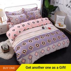 4Pcs Bedding Set  (1 Duvet cover+1 Bed sheet+2 Pillow covers) Super Wash Padding Cotton Elasticity color as picture 4*6