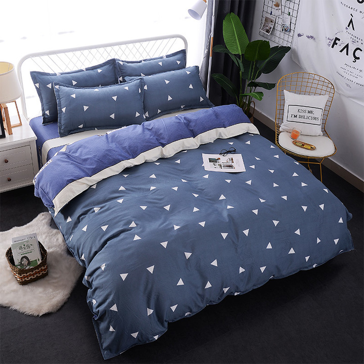 4Pcs Bedding Set (1 Duvet cover+1 Bed sheet+2 Pillow covers) Soft Quality Skin Friendly Breathable color as picture 5*6