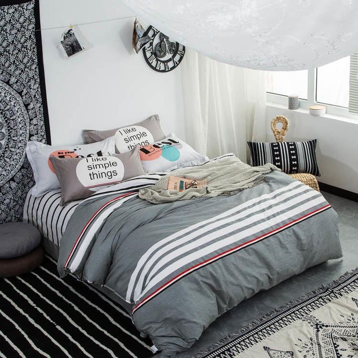 100% Preferred Cotton 4Pcs Bedding Set(1 Duvet cover+1 Bed sheet+2 Pillow covers) Smooth Soft color as picture 6*6