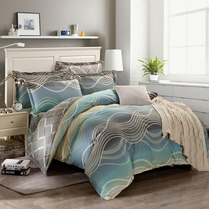 100% Preferred Cotton 4Pcs Bedding Set (1 Duvet cover+1 Bed sheet+2 Pillow covers) Smooth Soft color as picture 5*6