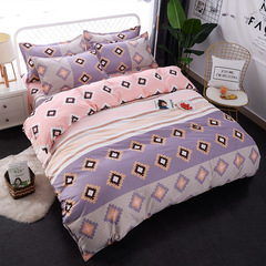 4Pcs Bedding Set (1 Duvet cover+1 Bed sheet+2 Pillow covers) Soft Quality Skin Friendly Breathable color as picture 6*6