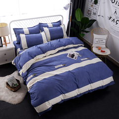 4Pcs Bedding Set  (1 Duvet cover+1 Bed sheet+2 Pillow covers) Super Wash Padding Cotton Elasticity color as picture 4*6
