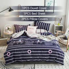【Promotion】4PCS Bedding Set (1 Duvet cover+1 Bed sheet+2 Pillow covers) Super Soft Cotton-014 as picture 6*6