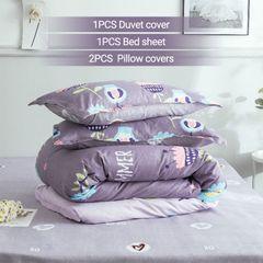 【Promotion】4PCS Bedding Set (1 Duvet cover+1 Bed sheet+2 Pillow covers) Super Soft Cotton-006 as picture 6*6