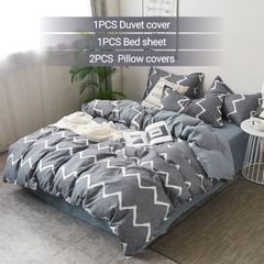 4Pcs Bedding Set (1 Duvet cover+1 Bed sheet+2 Pillow covers) Super Soft Cotton-004 as picture 4*6