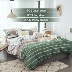 【Promotion】4PCS Bedding Set (1 Duvet cover+1 Bed sheet+2 Pillow covers) Super Soft Cotton-001 as picture 5*6