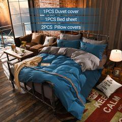 【Promotion】4PCS Bedding Set (1Duvet cover+1Bed sheet+2Pillow covers)  Double Pure Color Cotton double color 5*6