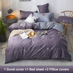 4PCS Bedding Set (1 Duvet cover+1 Bed sheet+2 Pillow covers) Aloe Cotton2019021 as picture 6*6