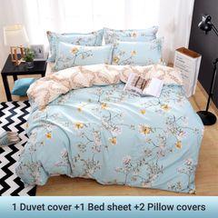 4PCS Bedding Set  (1 Duvet cover+1 Bed sheet+2 Pillow covers) Aloe Cotton Flexibility Zipper Design color as picture 5*6