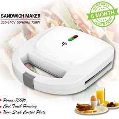 KP 6 Months Warranty Stripe Inner Sandwich Maker Toaster   Home Breakfast Machine White