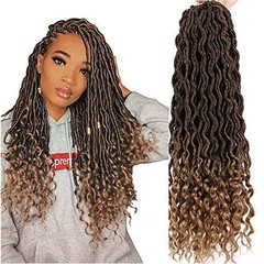 1Pcs/lot Goddess Faux Locs 20 Inch Deep Wave Braiding Hair with Curly Ends Black Mixed Light Brown T1B-27# 1pcs/lot