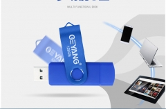 Mobile phone u disk dual-use dual-use 128g dual-plug personalized mini-car rotating USB flash drive BLUE one size 128g