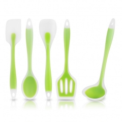 5 Piece Heat-Resistant Cooking Utensil Set Designed w/Premium Non-Stick Silicone Green ONE SIZE