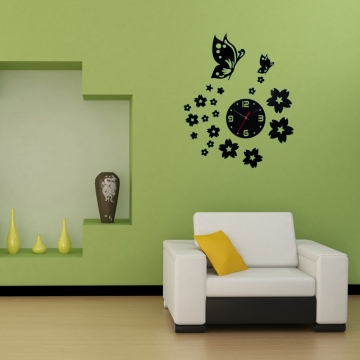 3D Wall Clocks Unique Butterfly and Flowers Design Mirror Face Wall Clock Photo Color