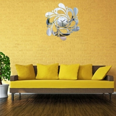 Musical Notes Acrylic Mirrors Wall Home Decor Art Stickers Wall Sticker Modern Home Decoration Silver