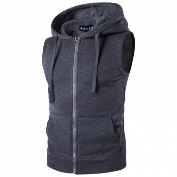 New men hooded zipper pocket fleece vest vest coat dark  gray m