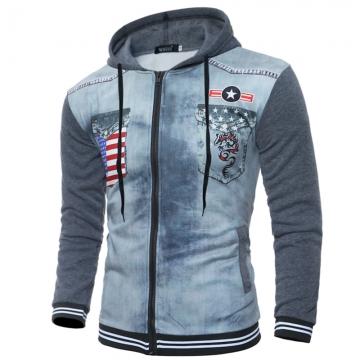 Tide 3D Tigers Print Fashion Men's Slim Hooded Long Sleeve Sweater Jacket 7342-P35 color 7 l