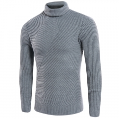 New simple men's high-necked sweater solid color sweater SW05-P50 white 001 M
