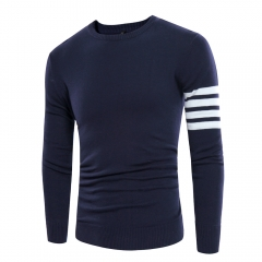 The new men's hooded striped sweater new autumn new SW02-P38 lake blue 006 3xl