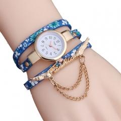 Floral pattern ladies wrist  watch blue
