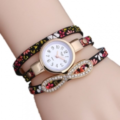 Floral pattern ladies wrist strap  watch black