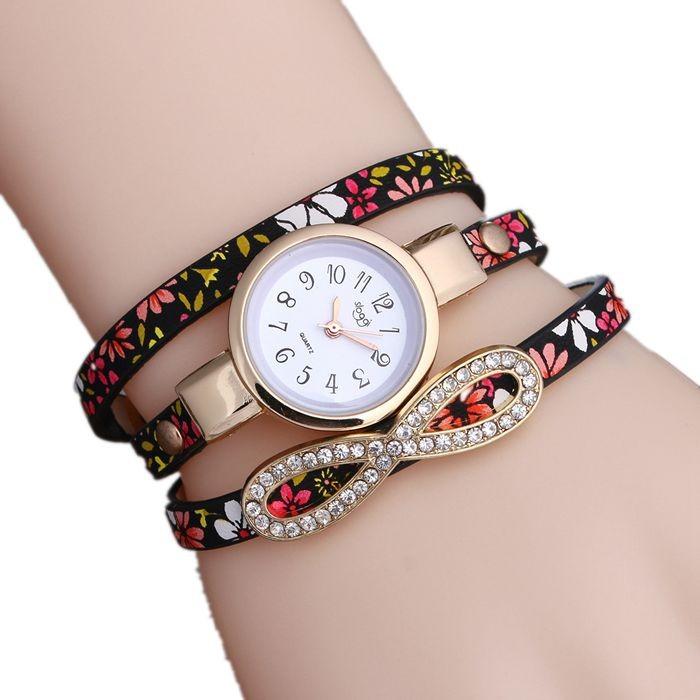 Floral pattern ladies wrist strap  watch black