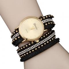 Woogoing 2016 New Lladies Watch Punk Rhinestones Rivet Winding Watch Light Version of Quartz Watch black