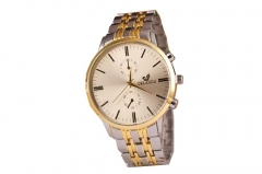 Woogoing New Men's Simple Watch Metal Steel Band Quartz Watch yellow