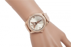 New Steel Strap Watch Retro Tron Tower Diamond Watch Rose Gold Personality Watch rose gold