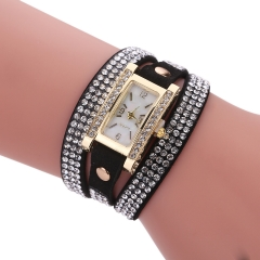 Sloggi Brand Fashion korea Velvet Square Bracelet Watch Lady Winding Watch Diamond Quartz Watch black