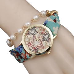 Woogoing Fashion Ladies Bohemia Wind PU Pearl Chain Bracelet Quartz Watch blue