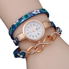 Woogoing Fashion Lady Three Winding Ethnic Style Floral Twist Belt Bracelet Watch blue
