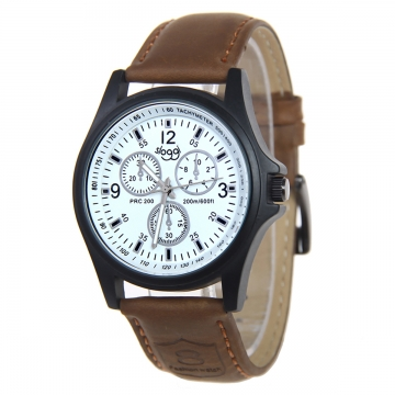 Mens Fashion Leather Band Analog Quartz Wrist Watch white dark brown